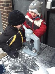Studying snowflakes through a microscope
